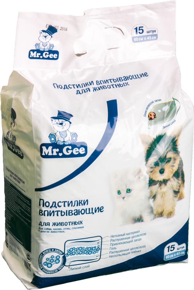 Подстилки впитывающие на гелевой основе для животных Mr.Gee 45х60 15шт/уп