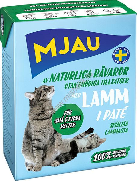 Mjau pate with Lamb, TRC 380gr / Mjau мясной ПАШТЕТ с Ягненком в упаковке Tetra Recart, 380гр. ШВЕЦИЯ