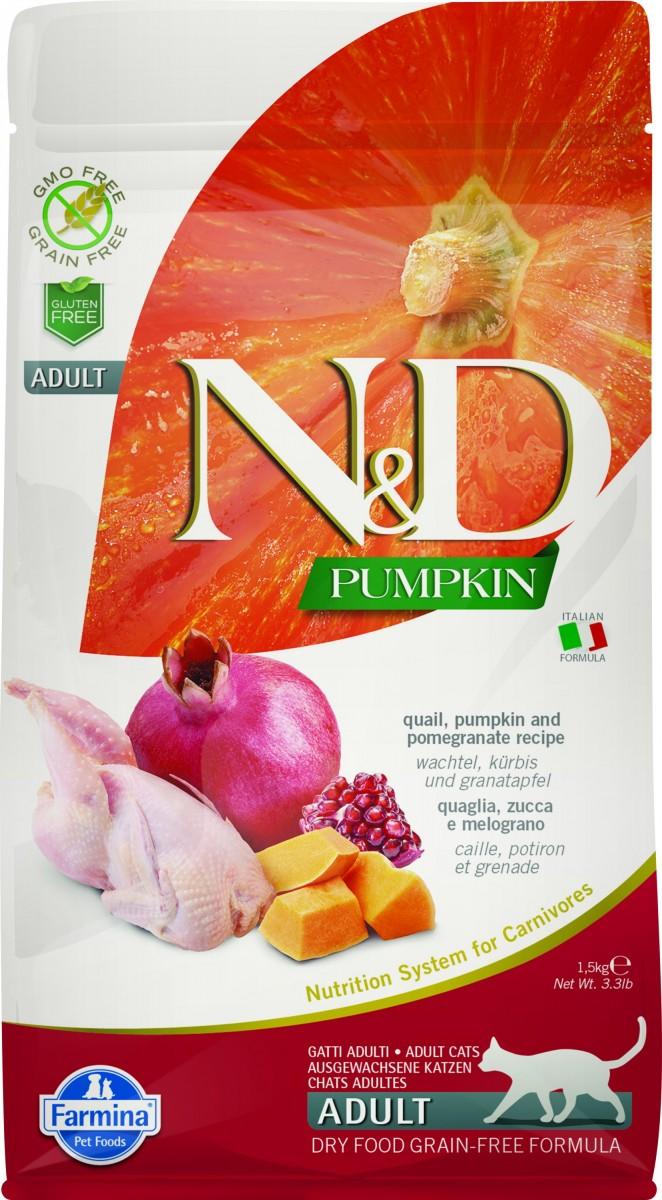 Farmina N&D Cat GF Pumpkin Quail Беззерновой корм для взрослых кошек. Перепел и Тыква
