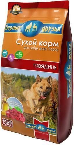 Верные друзья Премиум сух корм 15 кг для взрослых собак всех пород Говядина