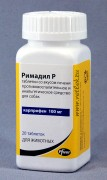 Римадил Р таблетки со вкусом печени, банка 20 таб. по 100 мг. Назначают собакам для облегчения воспалительных и болевых явлений при острых и хронических заболеваниях опорно-двигательного аппарата (остеоартриты), для анальгезии и в качестве противовоспалительного средства для уменьшения послеоперационных болей и отеков