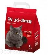 Pi-Pi-Bent Classik 5кг ламинированный крафт- пакет комкующ. наполнитель для кошачьего туалета из природного бентонита