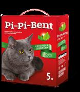Pi-Pi-Bent Сенсация свежести 5 кг. крафт пакет комкующ. наполнитель с ароматом свежих трав и цветов для кошачьего туалета