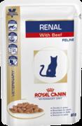 ROYAL CANIN Ренал c говядиной (фелин) для кошек С ХРОНИЧЕСКОЙ ПОЧЕЧНОЙ НЕДОСТАТОЧНОСТЬЮ 0,085 кг пауч АВСТРИЯ