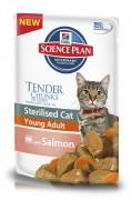 Hill `s Science Plan Feline Sterilused with Salmon для СТЕРИЛИЗ./КАСТРИР. кошек/котов Лосось 85 г (паучи) страна - Лихтенштейн