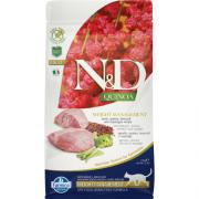 Farmina Беззерновой N&D Cat Quinoa Weight Management Lamb  Ягненок, киноа, брокколи и спаржа. Контроль Веса. Полнорационный сухой корм для взрослых кошек 92% мяса