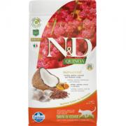 Farmina Беззерновой N&D Cat Quinoa Skin&coat Herring  Сельдь, киноа, кокос и куркума. Полнорационный сухой корм для взрослых кошек. Здоровье кожи и шерсти